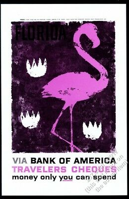 1959 pink flamingo art Bank of America Travelers Cheques vintage print ad