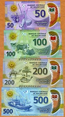 Mauritania set 4 New notes 2017-2018 Polymer UNC 50+100+200+500 Low Shipping