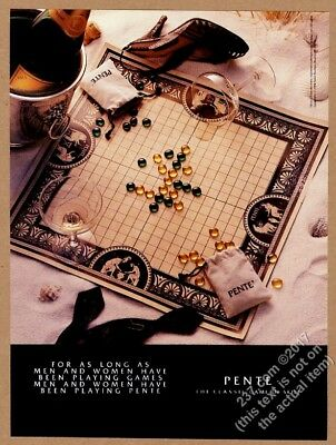 1984 Pente game board and Veuve Clicquot champagne bottle photo vintage print ad