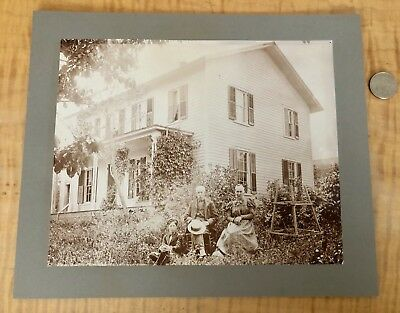 Large Antique Photo 1880's Ma & Pa & Sonny Boy Down On The farm
