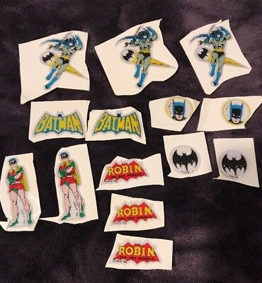Rare Vintage Batman Puffy Stickers Vending Toy Premium 1966 Group lot of 14