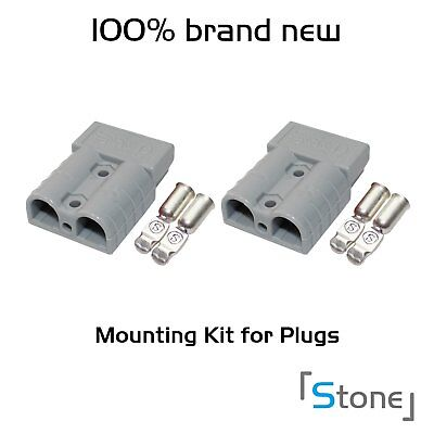 2x 50A Grey Plug Mounting Secure Quick Disconnect Jumper Booster Cables Protect