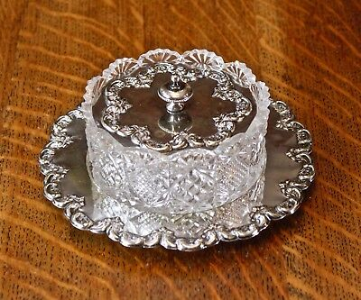 Antique glass / silver plated lidded relish / butter dish set in tray circa 1865
