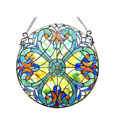 "LAST ONE THIS PRICE Tiffany Style Stained Glass 20"" Diameter Round Window Panel"