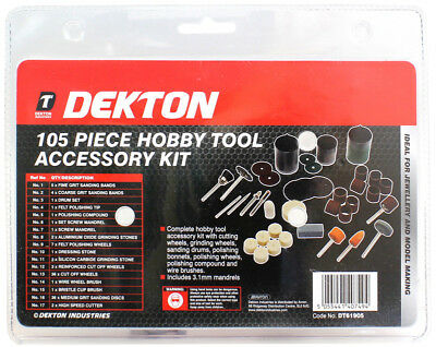 Dekton 105 Hobby Tool Accessory Kit With Universal Shank Size Cutting, Grinding,