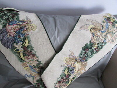 Angel Wreath Tapestry Table Runner 13 x 72 Holiday Christmas Decor