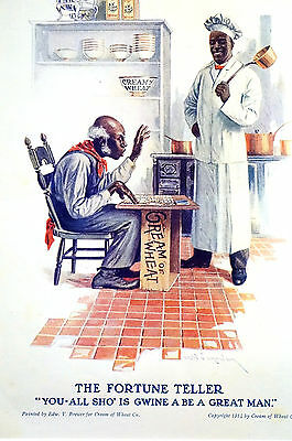 Brewer CREAM OF WHEAT Advertising - FORTUNE TELLER Black Americana 1914 Matted