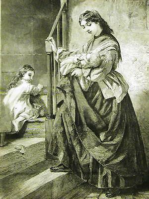 GOOD NIGHT MOTHER & BABIES 1869 Engraving Antique Print Matted