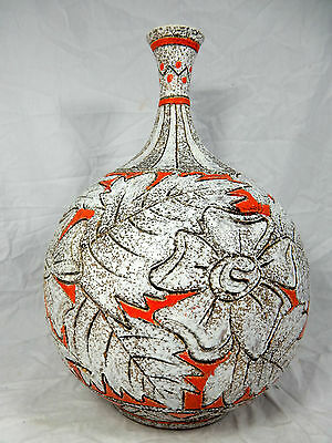 "Well shaped 60´s Italian ""Alla Moda"" pottery Fratelli Fanciullacci vase 35 cm"