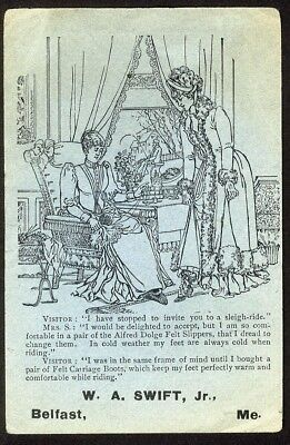 Belfast Maine SWIFT SHOES Women's Carriage Boots Slippers VICTORIAN Trade Card