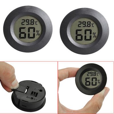 2Pcs Digital Cigar Humidor Hygrometer Thermometer Temperature Round Black Face