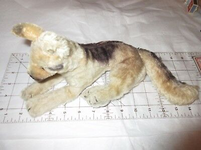 "Vintage Mohair German Shepherd Dog 14"" Laying Down Position Glass Eyes NO TAG"