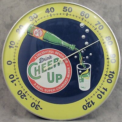 "Cheer Up Delightful Beverage Thermometer 12"" Round Glass Dome Sign"