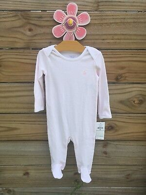 NWT Ralph Lauren Infant Girls Pink Striped Footed Coverall Sleeper Size 9 Months