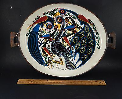 Unique Vintage African Hand Carved and Painted Bowl Signed Nibwana About 15.5""