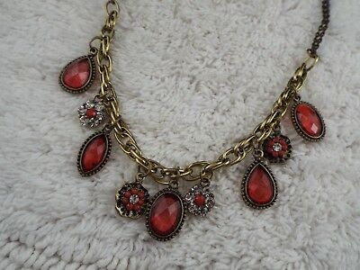 Goldtone Red Bead Rhinestone Pendants Necklace (B43)