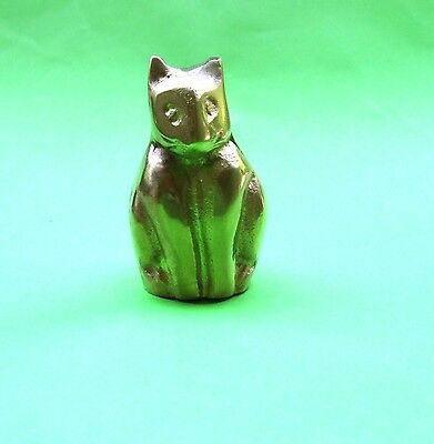 Vintage early 1970s Solid Brass Cat Figurine in Very Good Condition