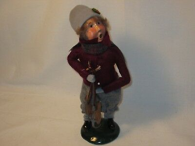 Byers Choice Retired 1988 Handsome Boy with Skates and Multicolored Scarf