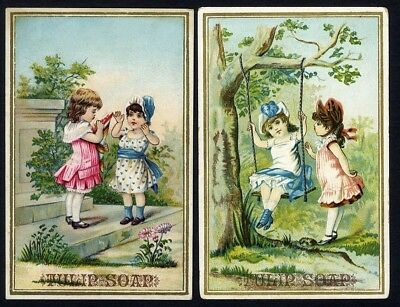 TULIP SOAP 2 Victorian Trade Cards 1880's Little Girls on Swing and Playing