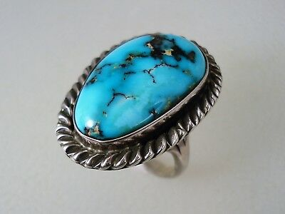 GORGEOUS VINTAGE Julia Martinez NAVAJO STERLING SILVER & TURQUOISE RING sz 8