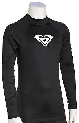 Roxy Girl's Whole Hearted LS Rash Guard - Anthracite / White - New