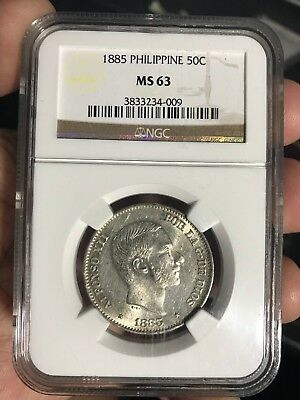 Spain Philippines 50 Centavo 1885 Alfonso Xii Ngc Ms 63