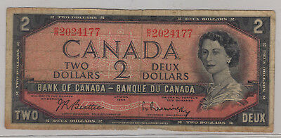 1954 Bank of Canada Two Dollar Bill. (P137)