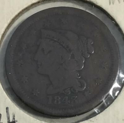 1843 US LARGE CENT! FINE! Braided Variety! Old US Coins!
