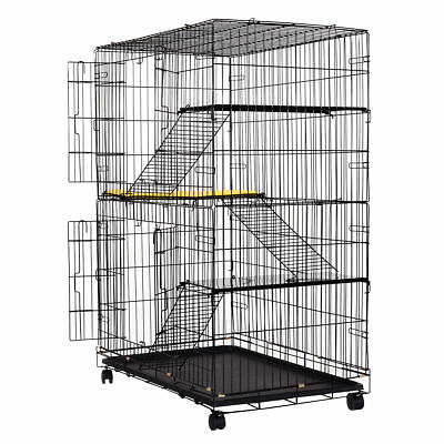 4-Tier Cat Pet Playpen Cage House Climbing Ladders Rest Benches Cushion Wheels
