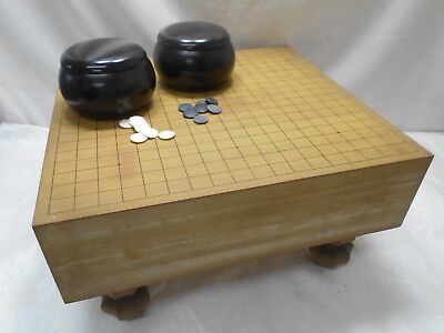 Vintage Japanese Wooden GO BOARD GAME with STONES Strategy Game Goban Go-Ishi#42