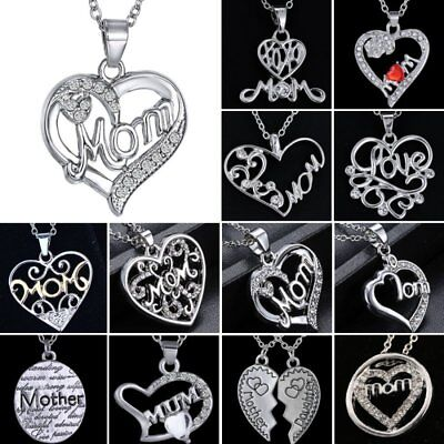 Mom Grandma 18K White Gold Filled Rhinestone Heart Necklace Mother's Day Gift