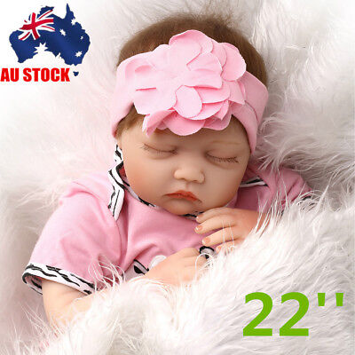 AU 22'' Lifelike Baby Doll Handmade Vinyl Reborn Newborn Doll Toy+Feeding Bottle