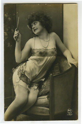1920s French Nude FRENCH SEE THRU Baby-Doll Lingerie risque deco photo postcard