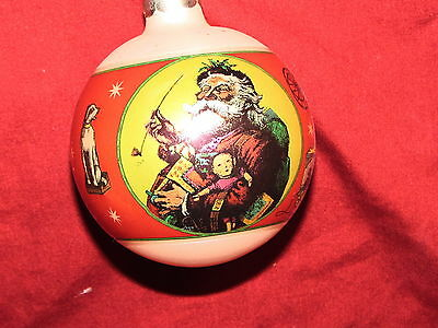 Santa Claus Old Victorian Style with Gifts 3 inch 1980's Glass Ball Ornament