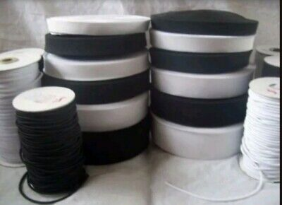 ELASTIC Cord Black White Flat or Round Great Choice of Width & Length