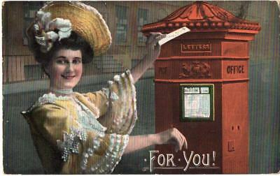 1906 Victorian  POST OFFICE  COLLECTION BOX   Postcard
