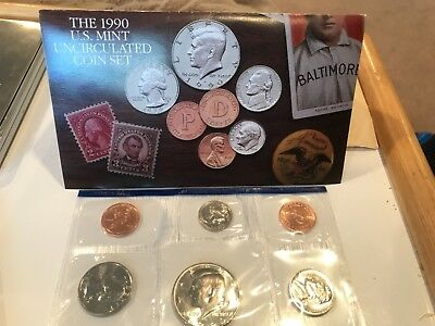United States Mint 1990 Uncirculated Coin Set With D And P Mint Mark