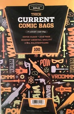 "100  CBG Current Thick Modern Comic Book Archival Poly Bags 7"" x 10-1/2"""