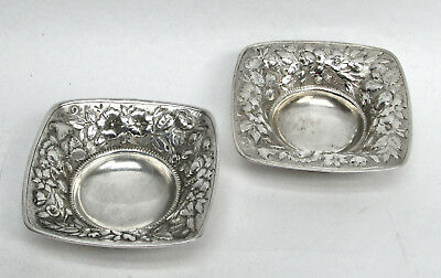 NICE PAIR 1890's GORHAM STERLING SILVER REPOUSSE' MINI NUT DISHES