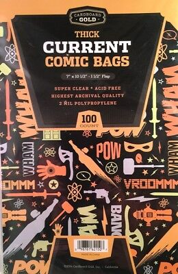 100 CBG THICK Current / Modern Comic Book Poly Bags + Acid Free Backer Boards