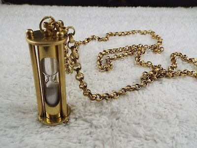 Solid Brass Sand Glass Hourglass Pendant Necklace (B16)