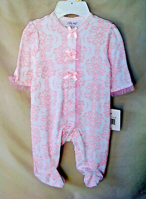 LITTLE ME 100% Soft Cotton Pink DAMASK SCROLL Footie w/Matching Hat  NWT