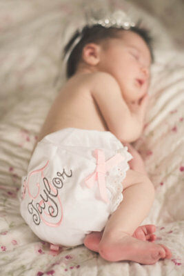 Personalized  Baby Bloomers Diaper Cover  Monogram Pink and Gray Newborn Toddler
