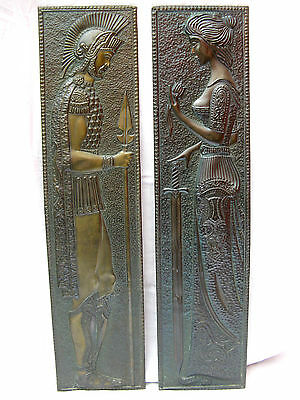 Beautiful set embossed brass wall pictures Warrior &  Lady Messing  114 x 28 cm