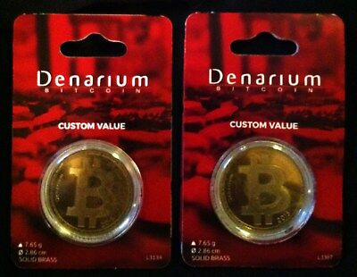 TWO Physical .01 FUNDED 2015 DENARIUM BITCOINS Custom Value TOTAL .02 BITCOIN $$