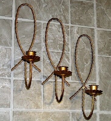 3 Vtg Homco Cottage Chic Antique Brass Metal Braided Rope Candle Holder Sconces