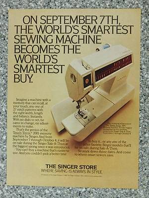 1980 Singer Touch-Tronic 2001 Sewing Machine Vintage Ad Page - Store Sale-A-Thon