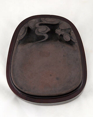 "A Chinese ""DRAGON"" DUAN INK STONE w/ Covered Hardwood Box 18th/19th century"