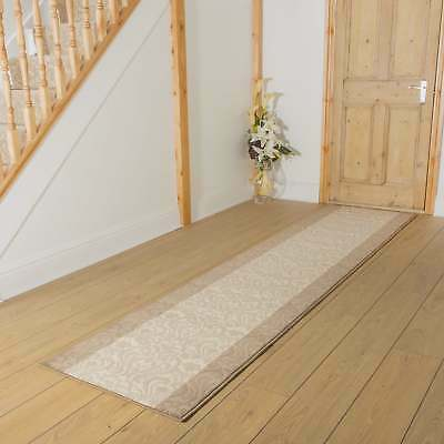 Baroque Taupe Ivory - Hallway Carpet Runner Rug Mat For Hall Extra Very Long New