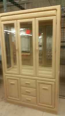 Vintage Stanley China Cabinet Buffet Lighted Wood Glass Shelving